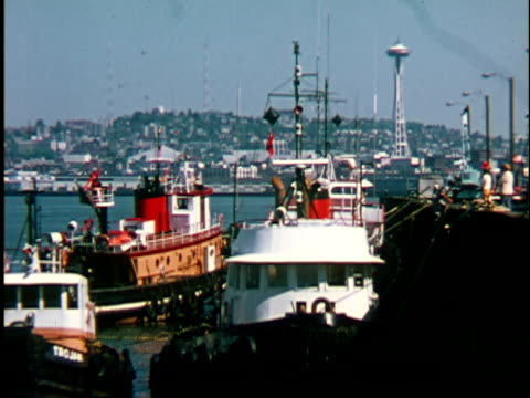 1960s MS, Fishing boats moored in dock, Seattle, Washington, USA