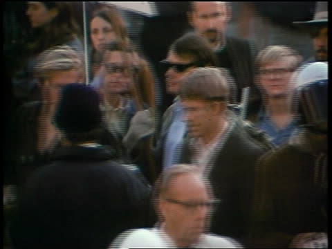 1960s high angle pan crowd of protesters at peace demonstration - peace demonstration stock videos and b-roll footage