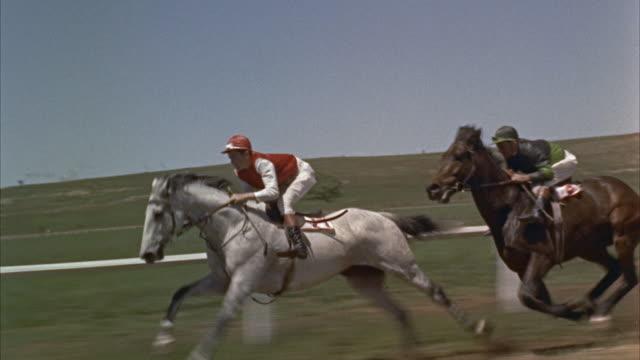 1960s ws ts horse race at bush track - pferderennen stock-videos und b-roll-filmmaterial