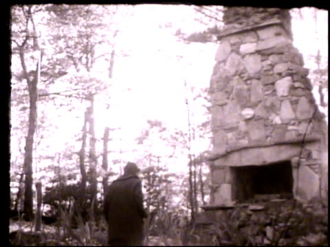 lillian smith vs lillian smith outside near outdoor chimney standing by fireplace reminiscing memories childhood clayton georgia ga laurel falls camp... - appalachia stock videos & royalty-free footage