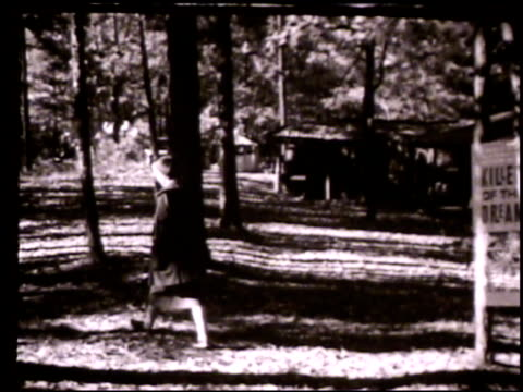 vídeos de stock e filmes b-roll de lillian smith vs lillian smith walking through forest near country home 'killers of the dream' book superimposed floating in/out frame smith walking... - appalachia