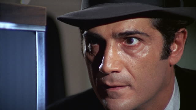 1960s cu man in hat staring and sweating - staring stock videos & royalty-free footage