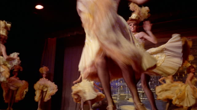 1960s medium shot cancan dancers performing on stage - showgirl stock videos and b-roll footage