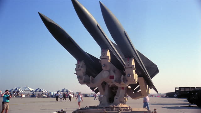 1960s medium shot missiles pivoting on machine - missile stock videos & royalty-free footage
