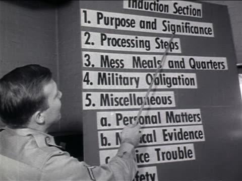 vídeos y material grabado en eventos de stock de b/w 1960s military man using pointer on list of steps for induction on board / military enlisting - sólo hombres jóvenes
