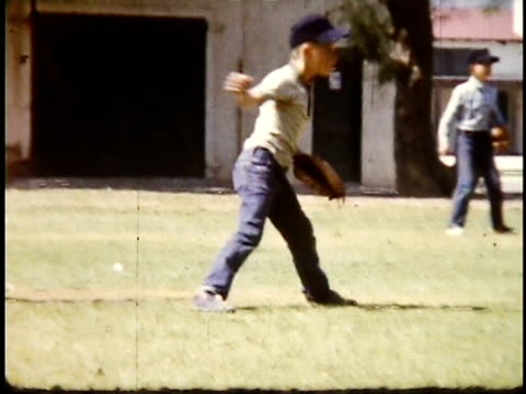 1960s MONTAGE Adolescent boy playing baseball / Lompoc, California, USA