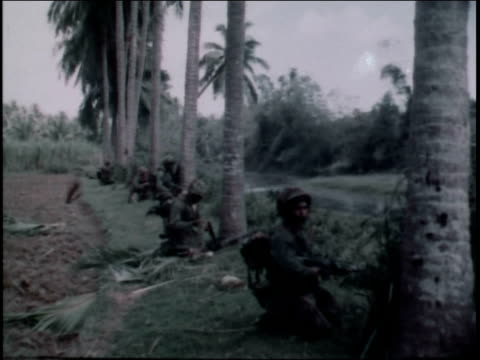 vídeos y material grabado en eventos de stock de 1960s montage first infantry division soldiers firing machine guns from behind tropical trees / vietnam - infantería