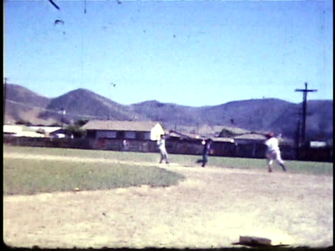 1960s montage little league baseball game / lompoc, california, usa - youth baseball and softball league stock videos and b-roll footage