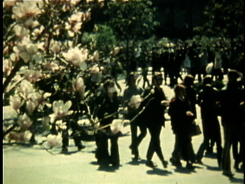 1960s montage riot police and chanting demonstrators during anti-vietnam war demonstration / united states - vietnam stock videos & royalty-free footage