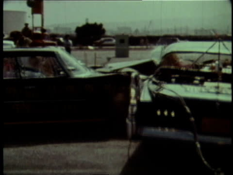 stockvideo's en b-roll-footage met 1960s montage vehicles containing crash test dummies colliding at 20 mph / united states - vijf dingen