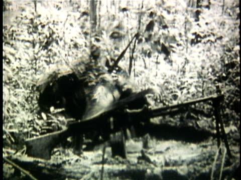vídeos y material grabado en eventos de stock de 1960s montage viet cong sodier in camouflage digging hole in jungle during vietnam war / vietnam - ropa de camuflaje