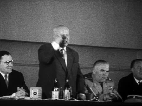 B/W 1960s Nikita Khrushchev shaking fist speaking / newsreel