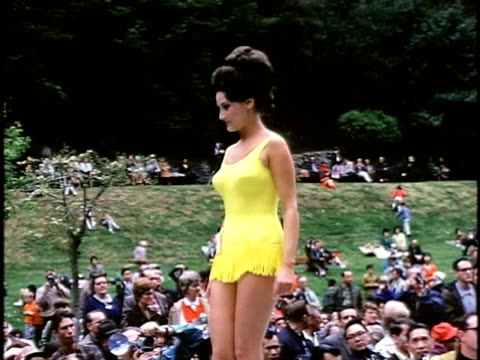 1960s outdoor beauty contest, san francisco, california, usa - one piece swimsuit stock videos & royalty-free footage