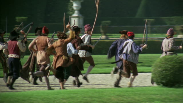 1960s WS Peasant mob attacking palace guards