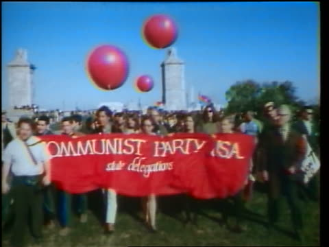 1960s people carrying communist party usa banner in peace demonstration / washington dc / newsreel - peace demonstration stock videos & royalty-free footage