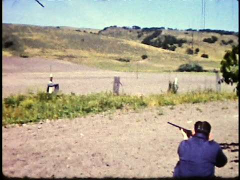 1960s ws person practicing with bb gun or 22 caliber riffle / california, usa - rifle stock videos & royalty-free footage