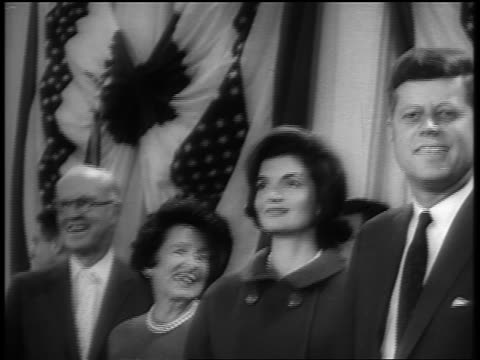 b/w 1960s president john f kennedy jacqueline kennedy rose kennedy joe kennedy smiling on stage - mature couple stock videos & royalty-free footage