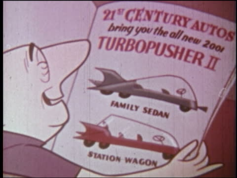 1960s rear view close up over-the-shoulder man looking at futuristic car advertisement in magazine + talking - magazine stock videos & royalty-free footage