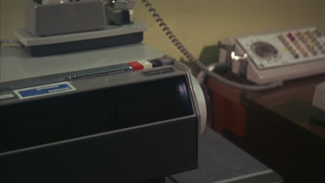 1960s cu recording device and telecopier in operation - spy stock videos & royalty-free footage