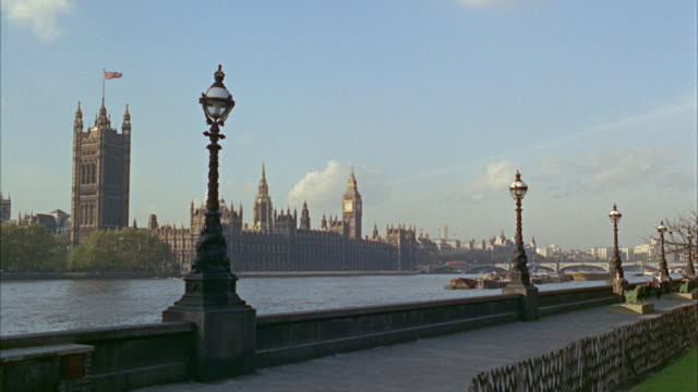 1960s ws river thames with houses of parliament / london, uk - 1966 stock videos and b-roll footage