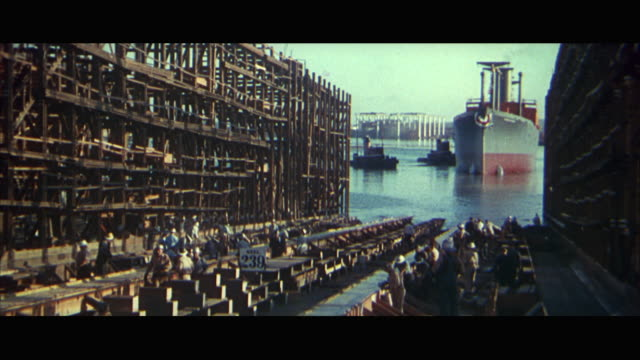 1960s ws ship being launched - ship launch stock videos and b-roll footage