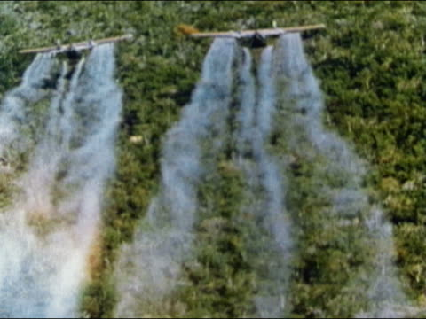1960s slow motion aerial us military airplanes spraying agent orange over the jungle / vietnam - vietnam stock videos & royalty-free footage