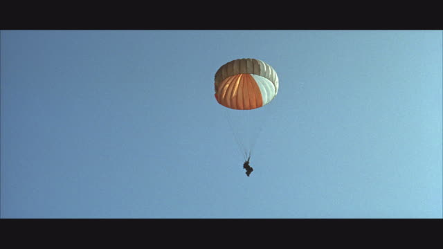 1960s ws la td soldier parachuting - parachuting stock videos and b-roll footage
