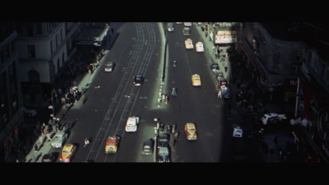 1960s ws ha tu traffic in times square / new york city, usa - 1967 stock videos and b-roll footage
