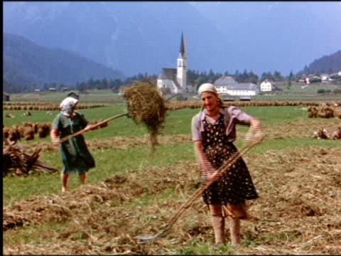 vídeos y material grabado en eventos de stock de 1960s two peasant women tossing hay with pitchforks in field / austria - bieldo equipo agrícola