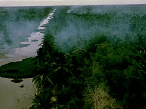1960s vietnam war rear plane point of view us plane dropping white phosphorus and napalm on village / vietnam - vietnamkrieg stock-videos und b-roll-filmmaterial