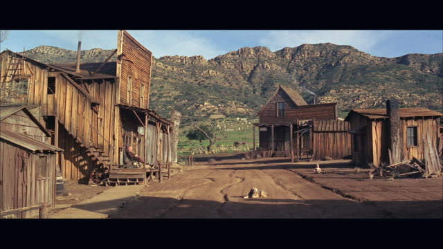 1960s ws western village with wooden houses - wild west stock videos & royalty-free footage