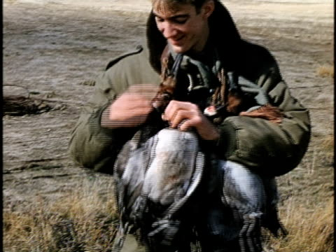 1960s ms young hunter posing with dead ducks, lebec, california, usa - 鳥を狩る点の映像素材/bロール