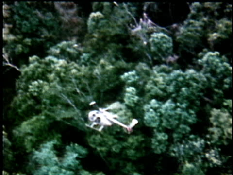 1970s aerial ws nonmilitary helicopter flying over jungle canopy / vietnam - 有名原生地域点の映像素材/bロール
