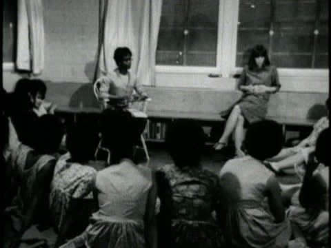 1970s b/w montage girls meeting in juvenile hall, los angeles, california, usa, audio - counselling session stock videos & royalty-free footage