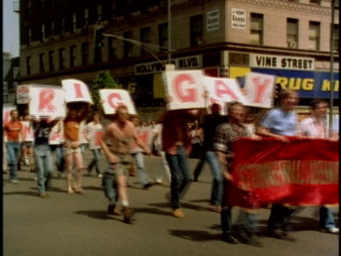 1970s ws gay parade on los angeles street california usa audio - parade stock videos & royalty-free footage
