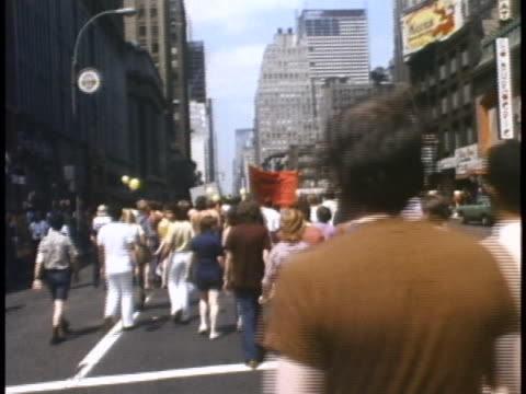 1970s gay rights march in new york city - human rights or social issues or immigration or employment and labor or protest or riot or lgbtqi rights or women's rights stock videos & royalty-free footage