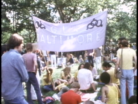 1970s gay rights protest in central park, new york city - human rights or social issues or immigration or employment and labor or protest or riot or lgbtqi rights or women's rights stock videos & royalty-free footage