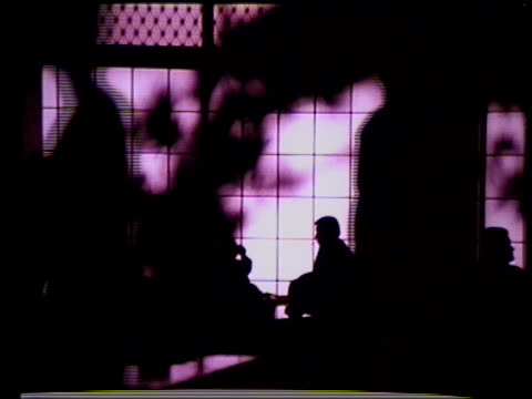 INDONESIA NIGHT MS Hotel Indonesia lights MS Silhouette of people in lobby HA MS Tropical hotel building trees FG INT Female airport attendant...
