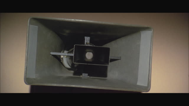 1970s cu large speaker on wall - megaphone stock videos & royalty-free footage