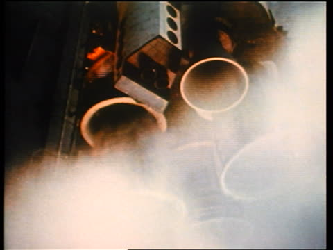 1970s low angle close up rocket engines of space shuttle on launch pad / educational - motore video stock e b–roll