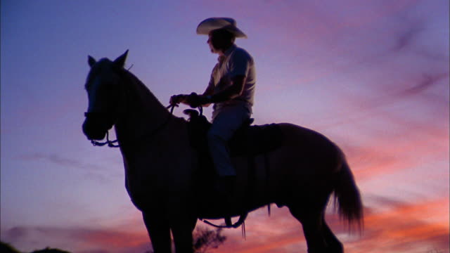 vídeos de stock e filmes b-roll de 1970s medium shot man in cowboy hat sitting on horseback w/sunset in background - peão papel humano