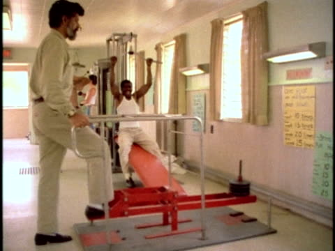 1970s men in prison gym, los angeles, california, usa, audio - bodyweight training stock videos & royalty-free footage