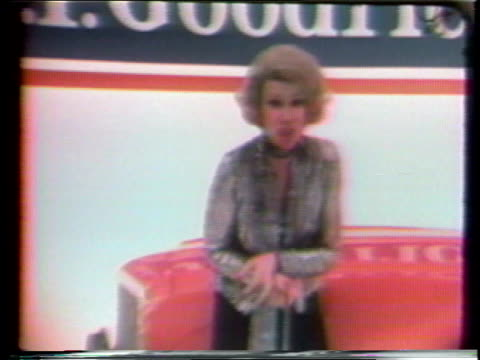 1970s MONTAGE Joan Rivers in commercial for B.F. Goodrich car tires / United States