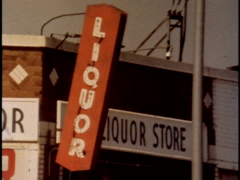 1970s montage liquor stores exteriors, los angeles, california, usa, audio - advertisement stock videos & royalty-free footage