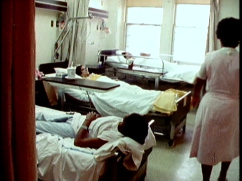 1970s MONTAGE Nurse helping patient to drink, Los Angeles, California, USA, AUDIO