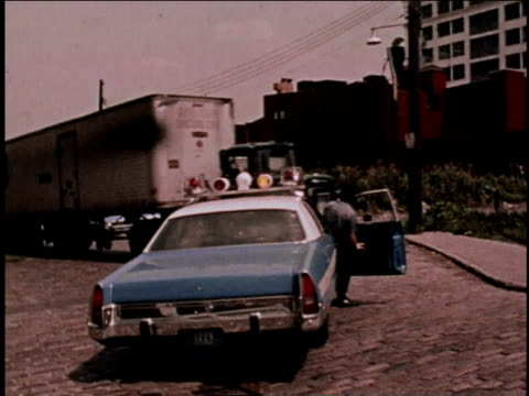 1970s montage police stopping hijacked truck / brooklyn, new york, united states - arrest stock videos & royalty-free footage