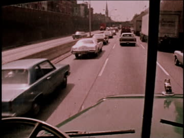 1970s montage truck driver driving on the highway / new york city, new york, united states - american interstate stock videos & royalty-free footage