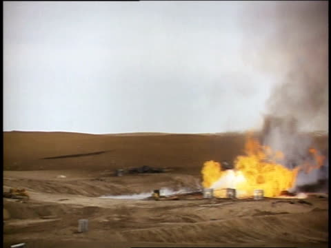 1970s ws oil fire exploding / united states - distant stock videos & royalty-free footage