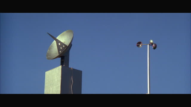 1970s ms small radar dish and wind gauge - 1970 1979 stock videos & royalty-free footage