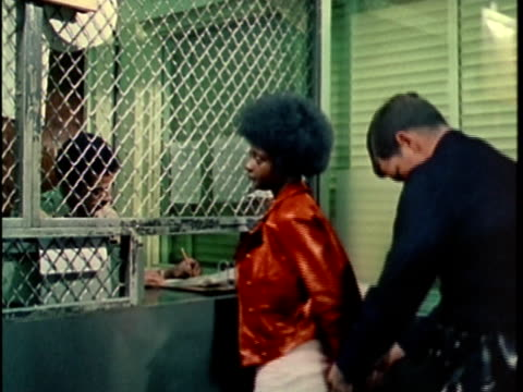 1970s MS Teen being read charges at police station , Los Angles, California, USA, AUDIO